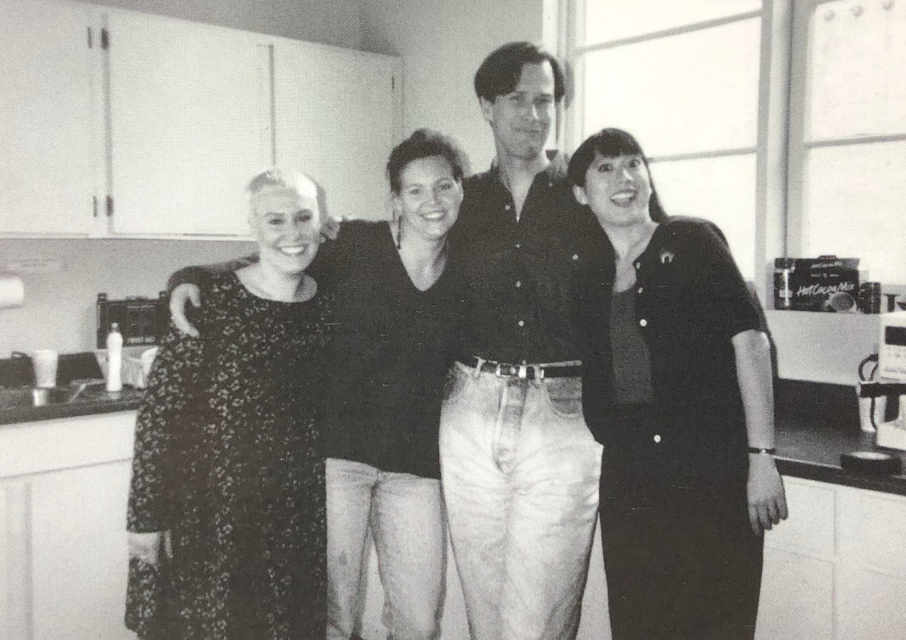 Production Assistant Denise Rottina, Production Coordinator Jill Ruzicka, Kevin Reher, and Associate Editor Edie Ichioka in the Skellington kitchen 1991