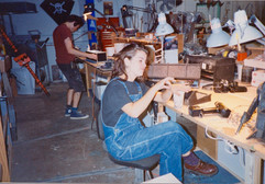 In the Model Shop with Paula Lucchesi in the foreground and Bill in the back.