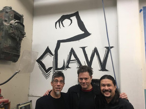 Nightmare alums Mike Cachuela, Bill Boes, and Fon Davis at Fonco Studios where Bill added a Claw to the wall.