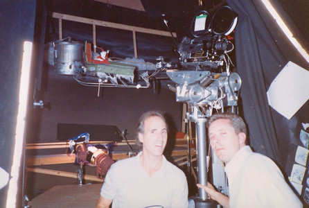 Pat and Camera Assistant Matt White on stage with Jack's flying sleigh rig and their Mitchell camera mounted on a strange looking motion control rig. 1991.