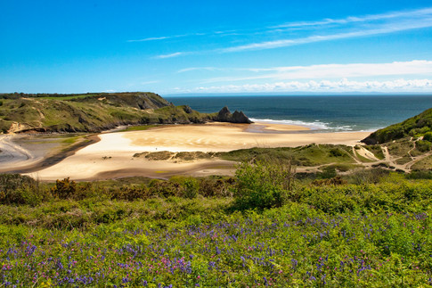 Three Cliffs Bay and Bluebells, The Gower Peninsula