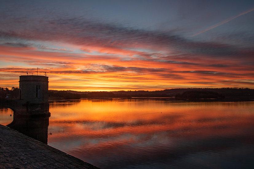 Print - Flaming Sunrise at the Dam