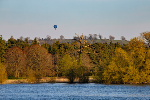 Hot air balloon over Chew Valley Lake