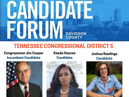 TN Congressional District 5, Candidate Forum, Mon. July 13, 2020 at 6:30 p.m.