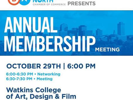 Mon. October 29, 2018 at 6pm                                 Annual Membership Meeting