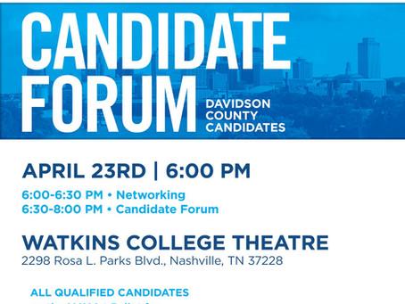 Mon. April 23, 2018 at 6:00 pm                                         Davidson Co. Candidate Forum