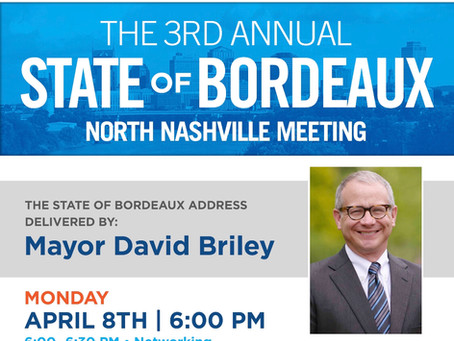 Mon. April 8th, 2019 at 6pm,                      State of BORDEAUX Address