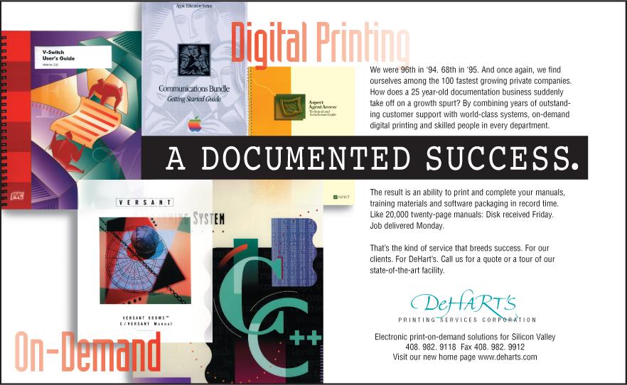 DeHart's Printing Ad