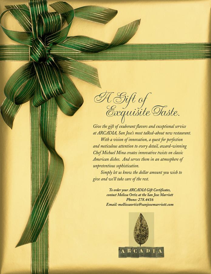 Arcadia Gift Cerficate Easel