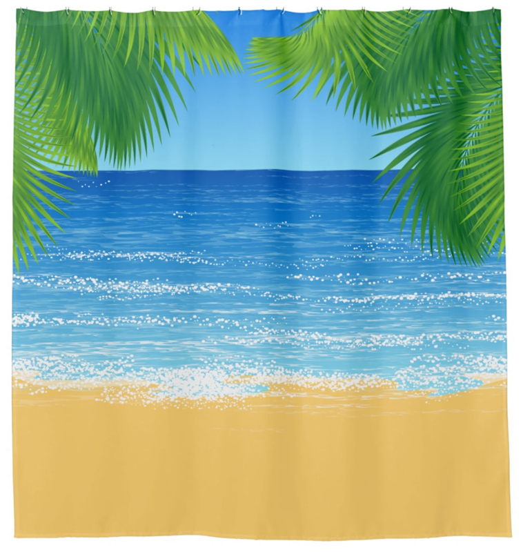 Fun Beach Themed Shower Curtain