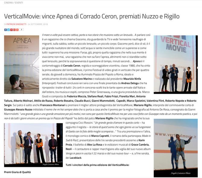 """""""Apnea"""" vince il primo premio al Vertical Movie di Roma"""