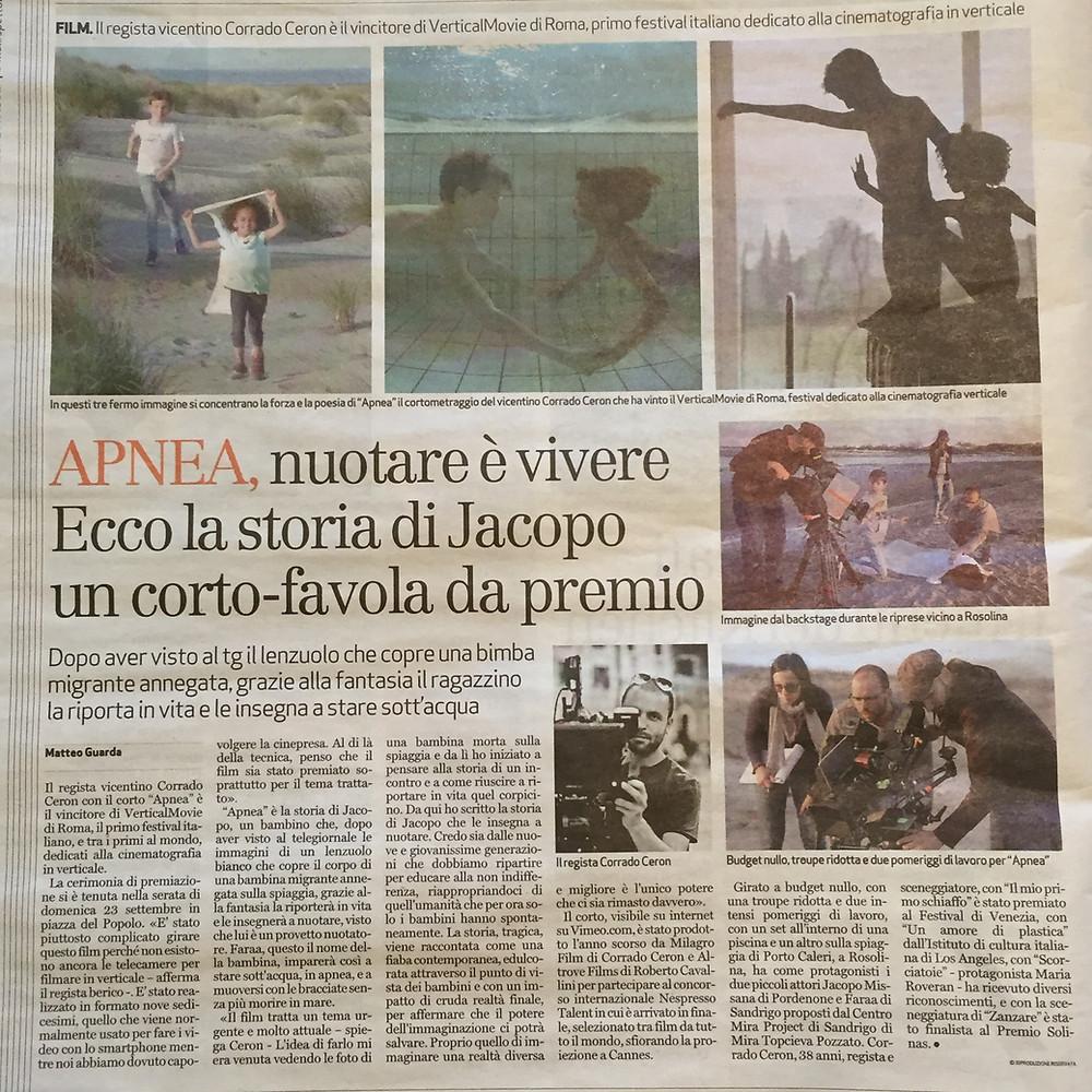 dal Giornale di Vicenza - settembre 2018