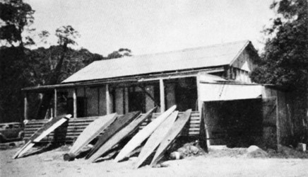 Circa 1950- the 'Bunkroom Boys' surf craft. These men travelled every weekend from as far as Sydney for patrol and all slept in the club house