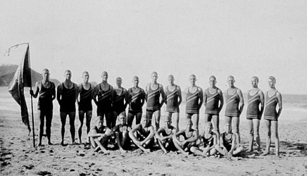 1945-1946 March Past team in the new blue, green and gold  costumes  (These replaced the original club costumes of black and fawn)