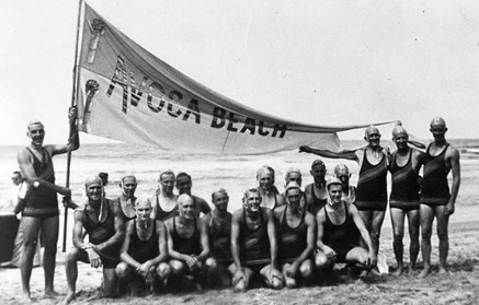 1948-1949- Avoca Beach March Past team displays its new flag