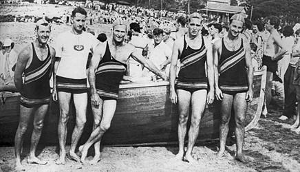 1949 Surf boat crew: K.McKinnon, A.Pickett, R.McKinnon, B.Wall & B.Norman