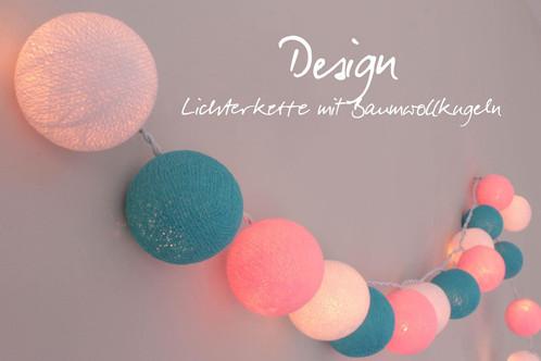 LED Lichterkette \'Kinderzimmer\' mit 20 handgearbeiteten Baumwollkugeln