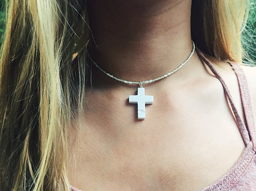 WHITE CROSS NECKLACE