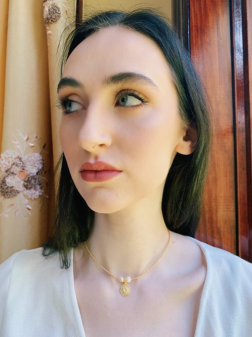 GOLD PLATED PEARL COIN CHOKER