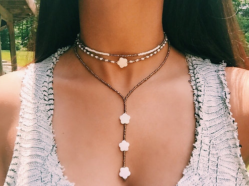 PEARL FLOWER DROP NECKLACE