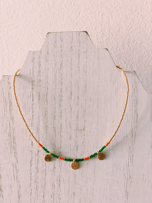 GOLD PLATED CANE COIN CHOKER