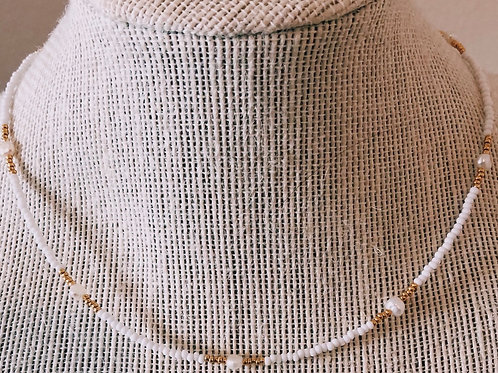 GOLD PLATED PEARL LAYERING CHOKER