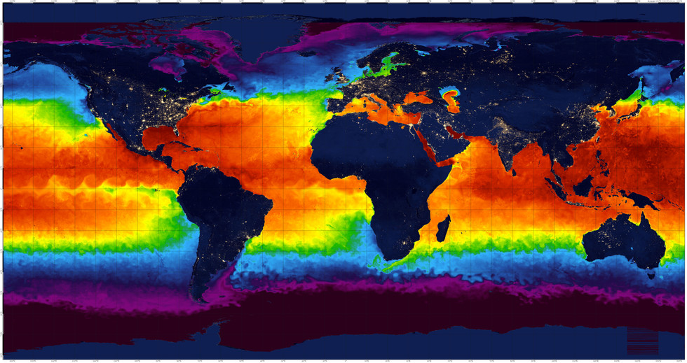 Night World Map, Summer Sea Temperature