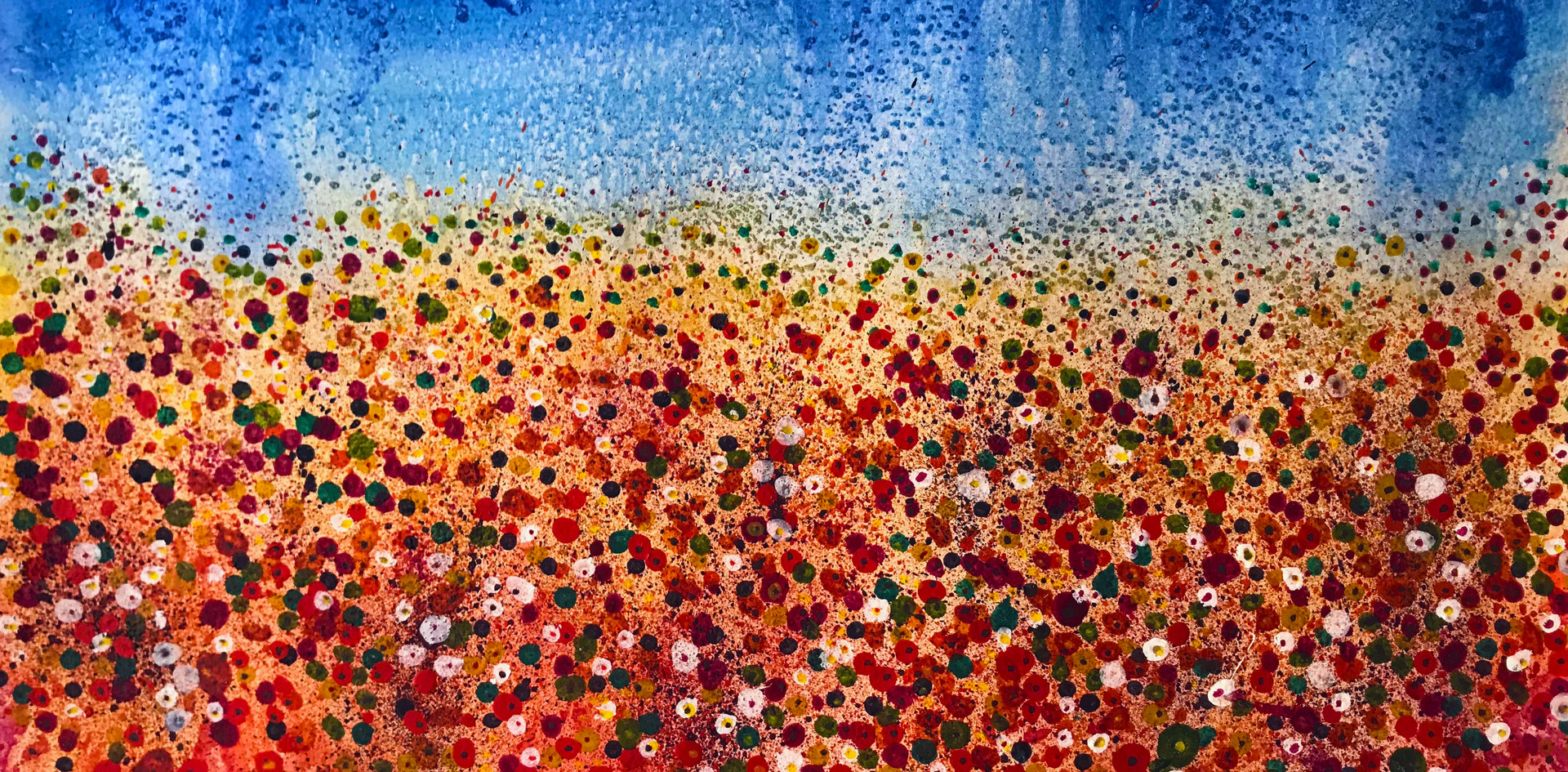 Poppies and Daisies Blue