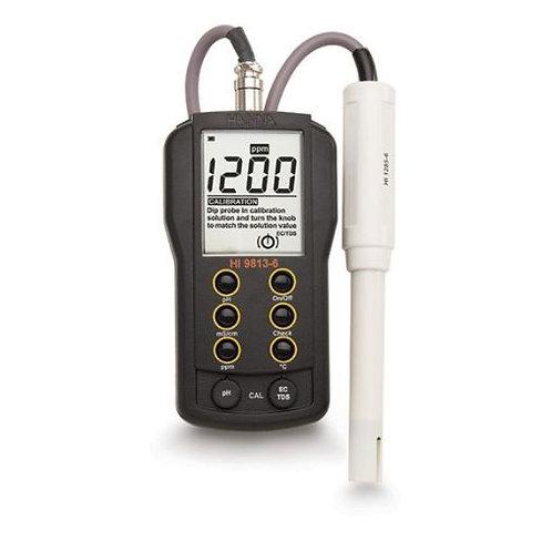 Pārnēsājama pH/EC/TDS/°C mērījumu ierīce Hanna HI-9813-6