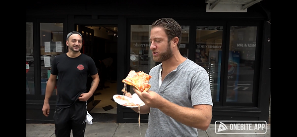 Mr. Portnoy rating Aurel's pizza. Click to see the score.