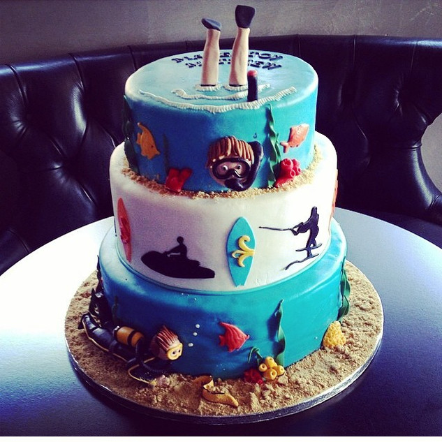 water sports cake