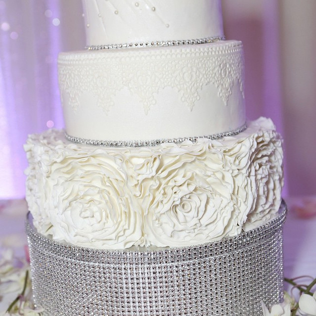 Ruffle Rosette and lace wedding cake