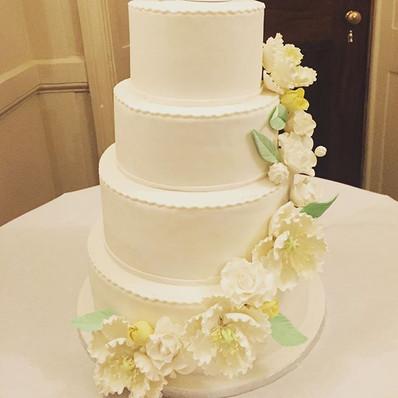 Cascading Sugar Flower Wedding Cake