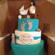 baby shower cake with custom topper