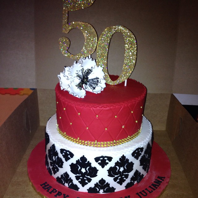 damask 50th birthday cake