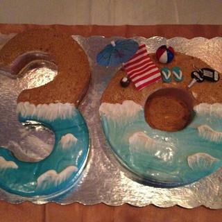 Beach Themed Numeral 30 cake