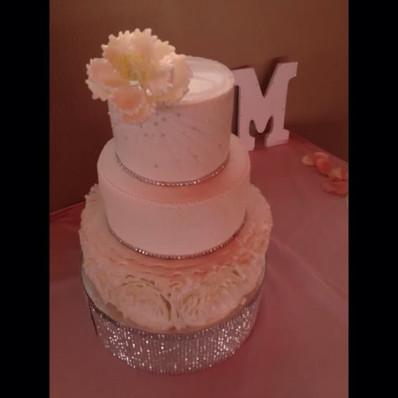 Ruffle Rosette Wedding Cake