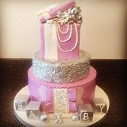 Lavender baby gift box cake