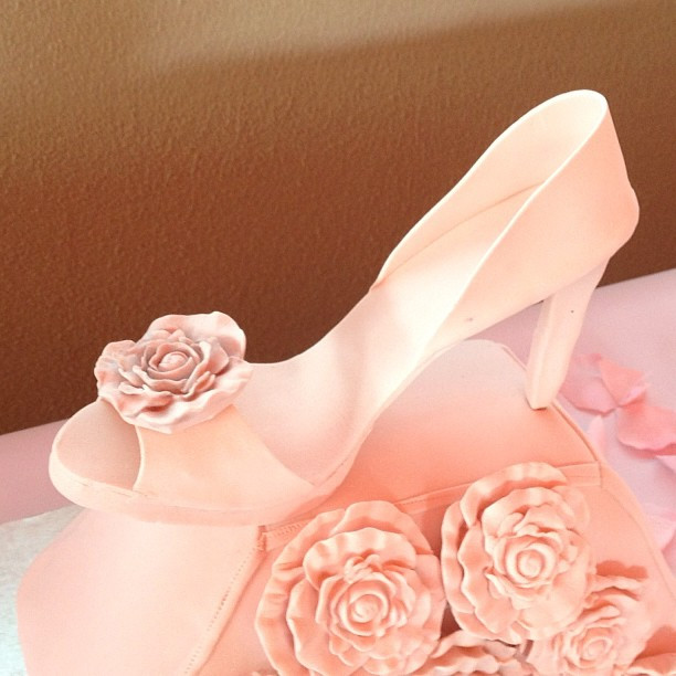 cabbage rose purse and shoe cake