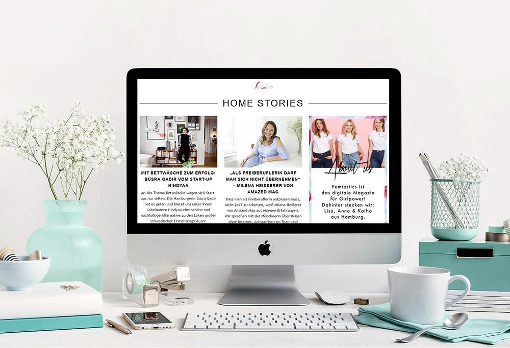 Femtastics-Homepage, Workspace; Andrea Alton, PR-Coach - PR selber machen