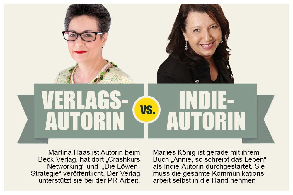 Verlagsautorin vs. Indie-Autorin Infographic; Andrea Alton, PR-Coach - PR selber machen