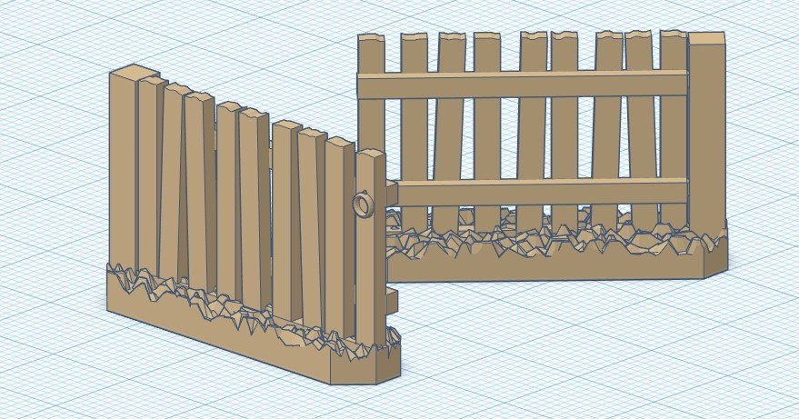 2x 28mm Rough Picket Fence Gate
