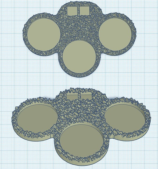 3 Slot Skirmish Sabot Base with Holes for Micro Dice (25mm)