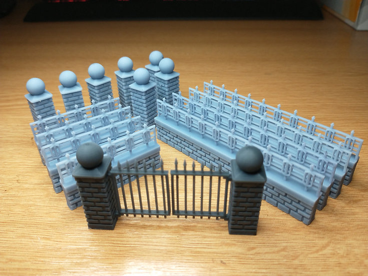 28mm Wall with Railings Set