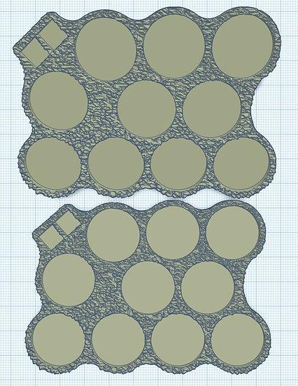 10 Slot Irregular 'Barbarian' Sabot Base with Holes for Micro Dice (1p)