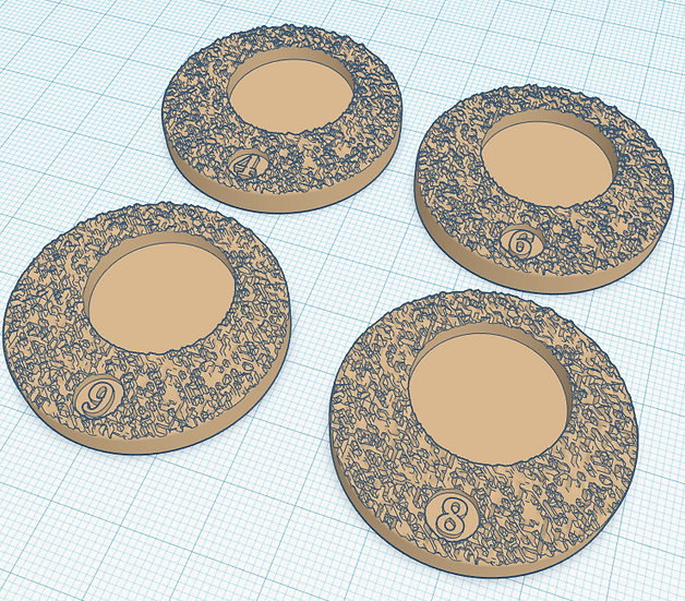 20mm Extra Numbered Leader Bases