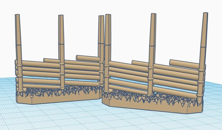3x 28mm Scale Gärdsgård (Pole fence) Short Straight Section