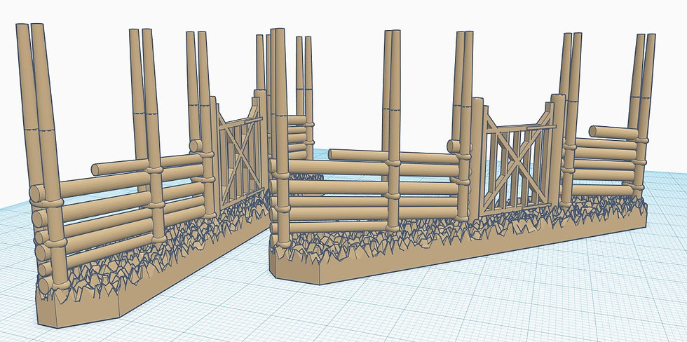 28mm Scale Gärdsgård (Pole fence) with Small Gate