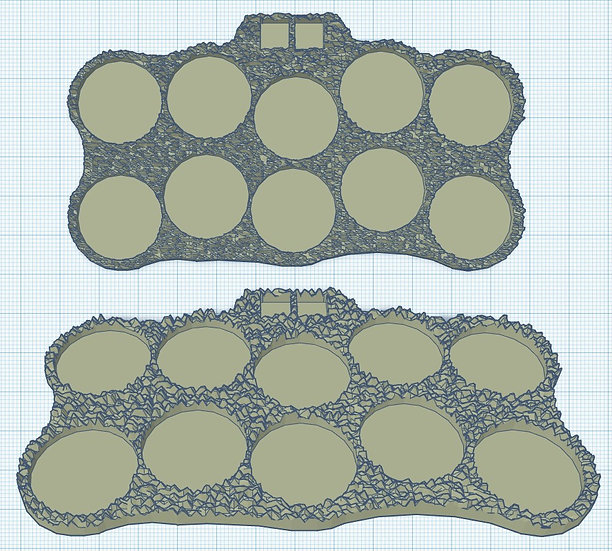 10 Slot 'Militia' Sabot Base with Holes for Micro Dice (1p)