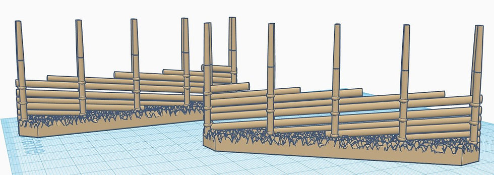 3x 28mm Scale Gärdsgård (Pole fence) Straight Section
